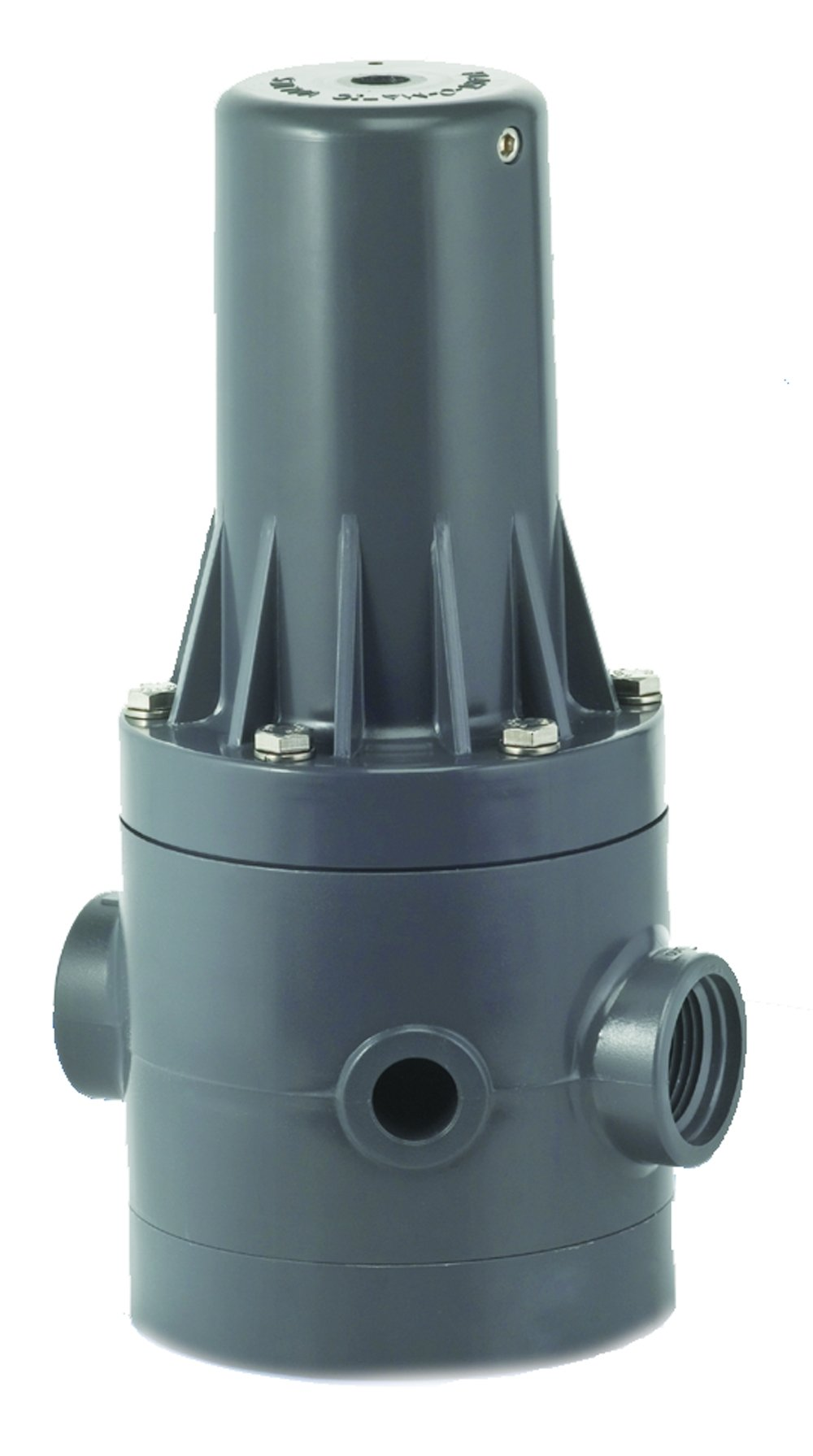 Plast-O-Matic PRHM Series PVC Pressure Regulator, For Corrosive and Ultra-Pure Liquids, 5 - 125 psi Regulating range, 3/4'' x 3/4'' NPT Female