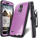 #10: LG Stylo 3 / Stylo 3 PLUS, COVRWARE [IRON TANK] Built-in [Screen Protector] Heavy Duty Full-Body Rugged Holster Armor [Brushed Metal Texture] Case [Belt Clip][Kickstand] For LG Stylo 3, Purple