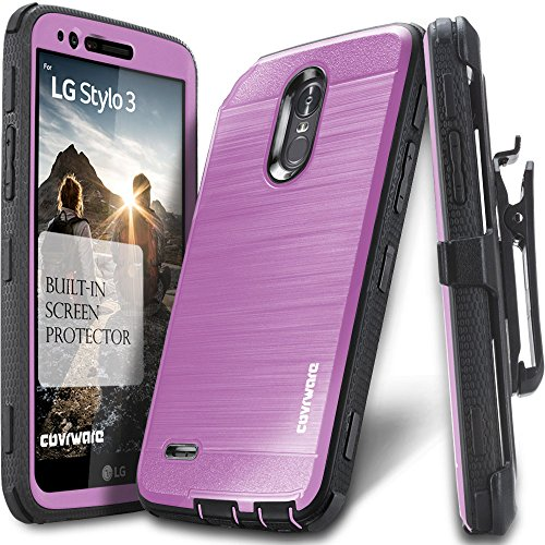 LG Stylo 3 / Stylo 3 Plus, COVRWARE [Iron Tank] Built-in [Screen Protector] Heavy Duty Full-Body Rugged Holster Armor [Brushed Metal Texture] Case [Belt Clip][Kickstand] for LG Stylo 3, Purple
