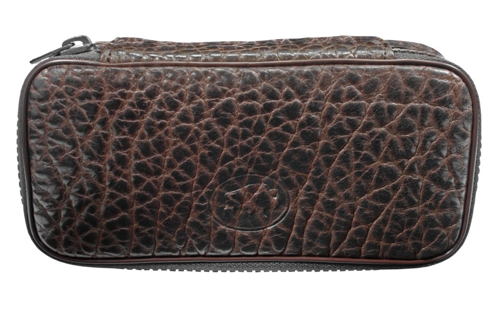 Martin Wess Germany ''Bison'' Buffalo Leather 2 Pipe Bag Case