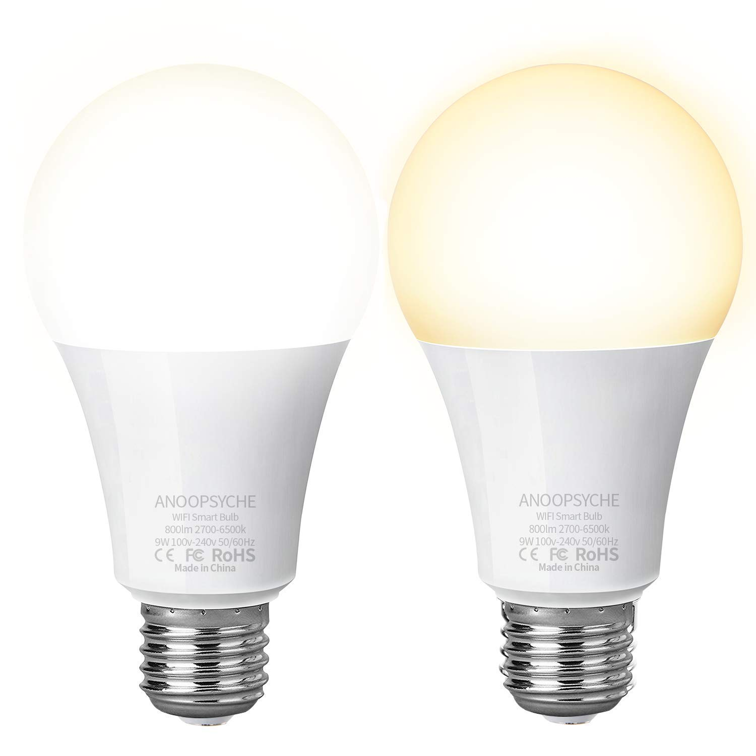 Anoopsyche Smart LED Bulb WiFi Light Bulb E26 Dimmable 2700K-6500K 800LM 9W Equivalent A19 60W Works with Amazon Alexa and Google Assistant IFTTT No Hub Required (2 Pack) product image