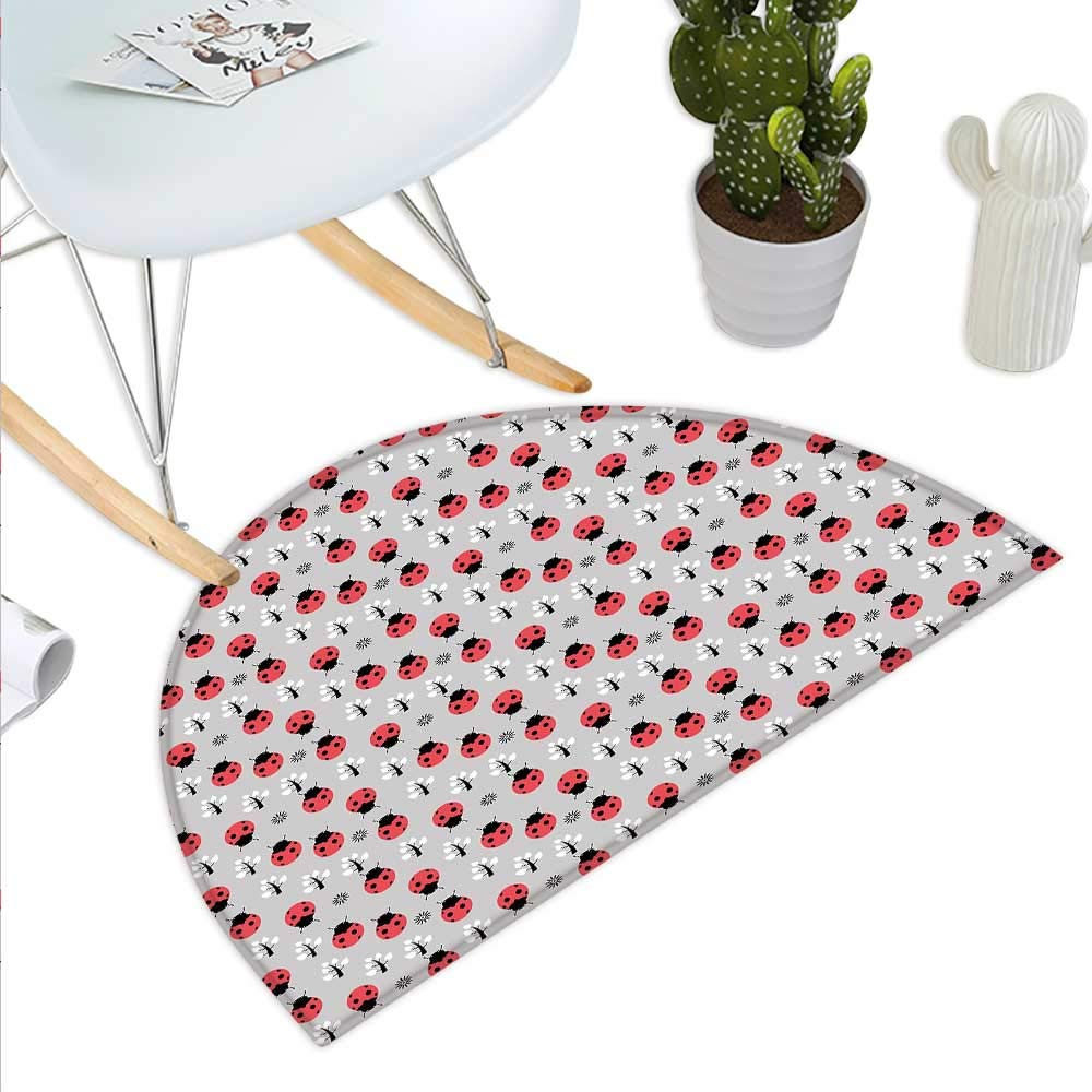 color04 H 27.5  xD 41.3  Ladybugs Semicircle Doormat Flower Frame with Tiny Little Ladybugs and Swirl Branches Springtime Theme Halfmoon doormats H 27.5  xD 41.3  Pale Green Red