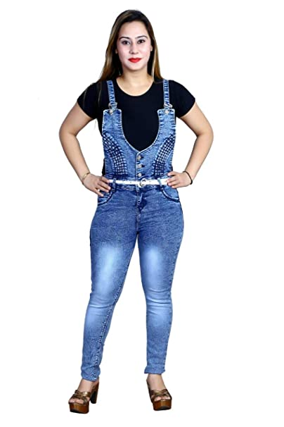new styles new high quality best quality for Spiff-Up Women's Stylish Denim Full Length Dungaree Dress ...