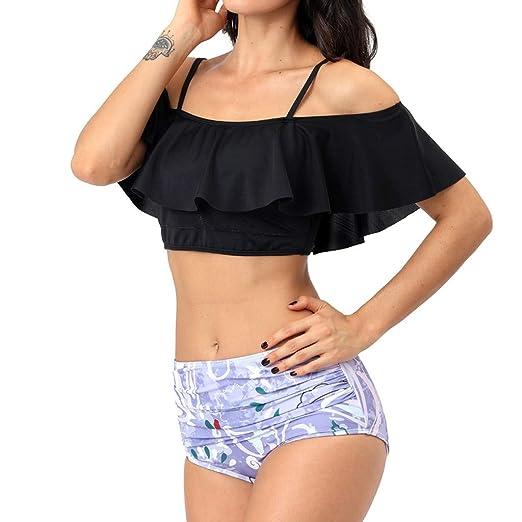 2ddaf6917c Jauntly Women Two Piece Off Shoulder Ruffled Flounce Crop Bikini Top with  Sling Print Cut Out