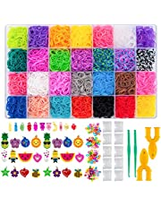 NPLUX Rainbow Rubber Band Bracelet Refill Loom Kit,10000 Loom Rubber Bands,500 S-Clips,175 Beads,24 Charms,10 Crystal Charm,2 Y-Loom,2 Crochet Hooks