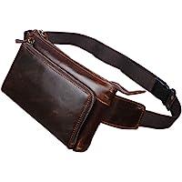 Vintage Leather Fanny Pack Waist Bag for Men Women Travel Hiking Running Hip Bum Belt Slim Cell Phone Purse Wallet Pouch…