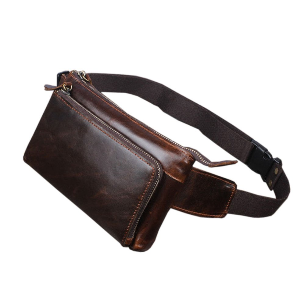 Hebetag Vintage Leather Fanny Pack Waist Bag for Men Women Travel Hiking Running Hip Bum Belt Slim Cell Phone Purse Wallet Pouch Coffee