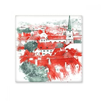 red roof russia building watercolor painting ceramic bisque tiles