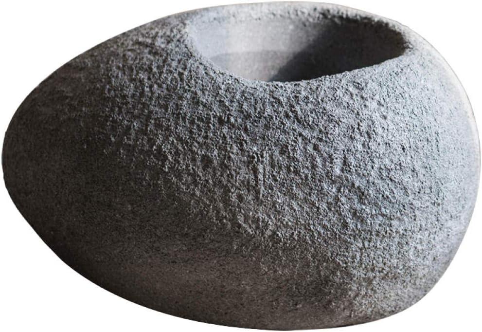 KOONNG Jarrón De Decoración del Hogar Cemento De Piedra Grande En Forma De Maceta Arte Estilo Jardín Decoración