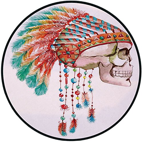 Printing Round Rug,Native American,Watercolor Graphic of a Skull with Tribal Indian Chief Feather Native Dead Art Print Mat Non-Slip Soft Entrance Mat Door Floor Rug Area Rug For Chair Living Room,Mul