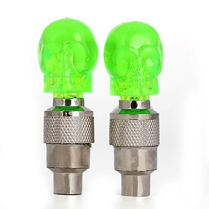 2Pcs Skull Head Valve Stem Cap LED Light Bike Bicycle Motorcycle Wheel Tire Lamp