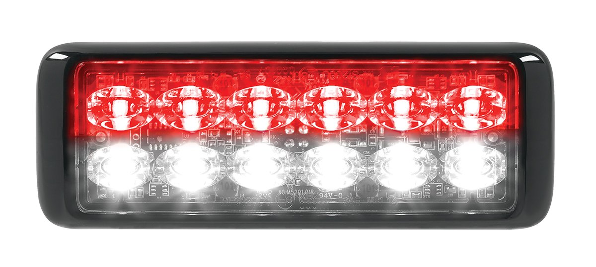 Federal Signal MPS1200U-RW MicroPulseUltra, Surface Mount, Clear Lens, 6 Red and 6 White LEDs