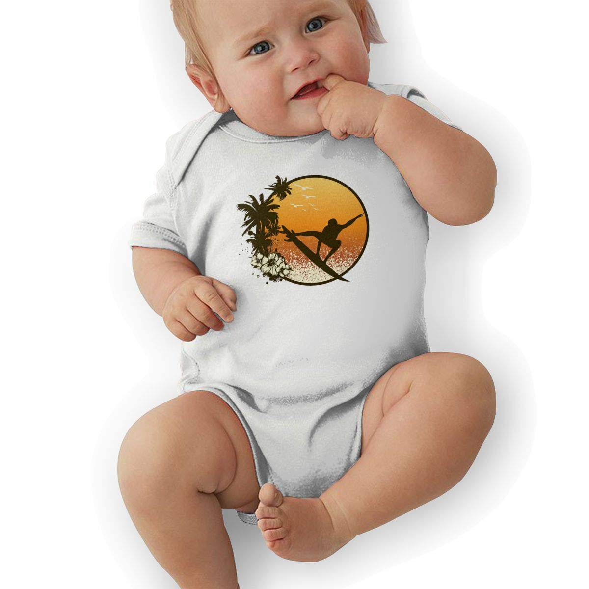 Hawaii Cool Surfer Silhouette Baby Boys Girls Jumpsuits Short Sleeve Romper Bodysuit Bodysuit Jumpsuit Outfits White