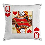 Queen Area Queen Queen of Hearts Playing Card Casino Design Gambling Game Poker Blackjack Square Throw Pillow Covers Cushion Case for Sofa Bedroom Car 18x18 Inch, Vermilion Yellow White