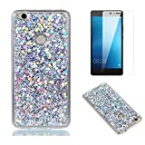Fit for Huawei P10 Lite Glitter Case with Screen Protector,OYIME [Silver Sequins] Shiny Bling Luxury Design Clear Ultra Thin Soft Rubber Protective Back Cover Transparent Scratch Resistant Drop Protection Bumper