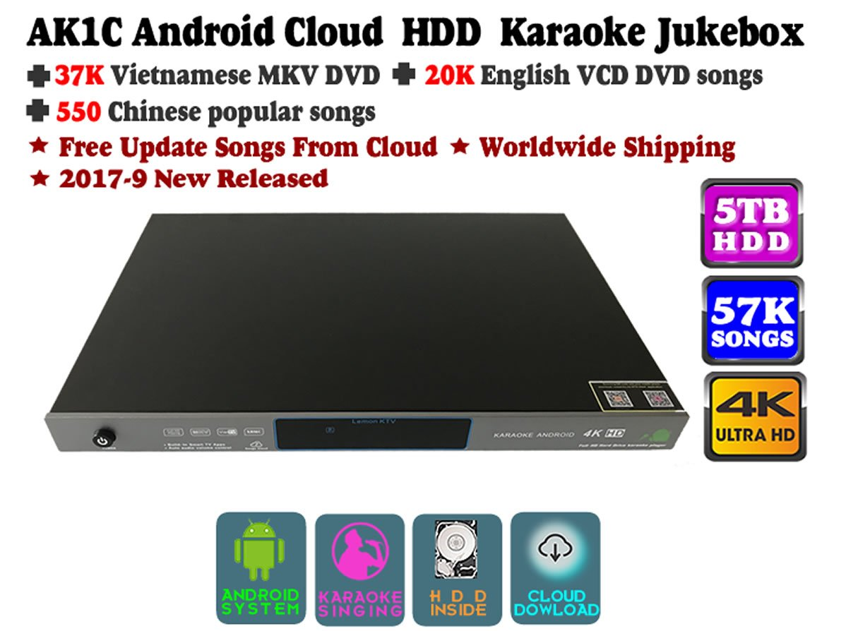 ACEUME Android Cloud HDD Karaoke Jukebox with 57,000 songs(37K Vietnamese DVD+20K English VCD DVD+500 Chinese DVD)Songs,5TB,2017-12 updated,free download songs from cloud,over 200,000 songs in cloud
