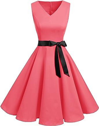 Bridesmay Women's V Neck Audrey Hepburn 50s Vintage Elegant Floral Rockabilly Swing Cocktail Party Dress