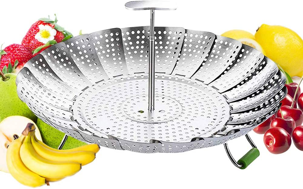 Vegetable Steamer Basket Stainless Steel Veggie Steamer Baskets For Cooking Folding Food Steamer Pot For Fish Seafood Boiled Eggs Dumpling Steamer Expandable To Fit Various Size Pot