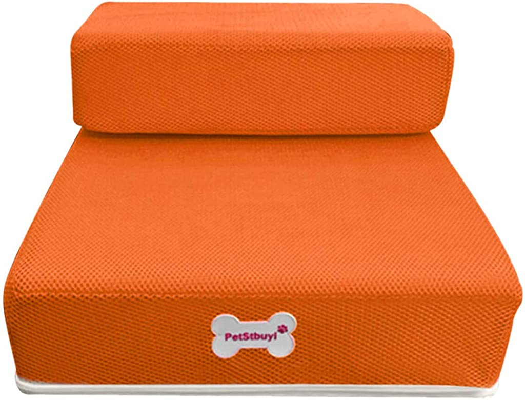H.eternal 2 Steps Dog Cat Stairs to get on High Bed Removable Cover Pet Dog Ladder Easy Climb Cushion Bed Step with Detachable Cover Pet Product