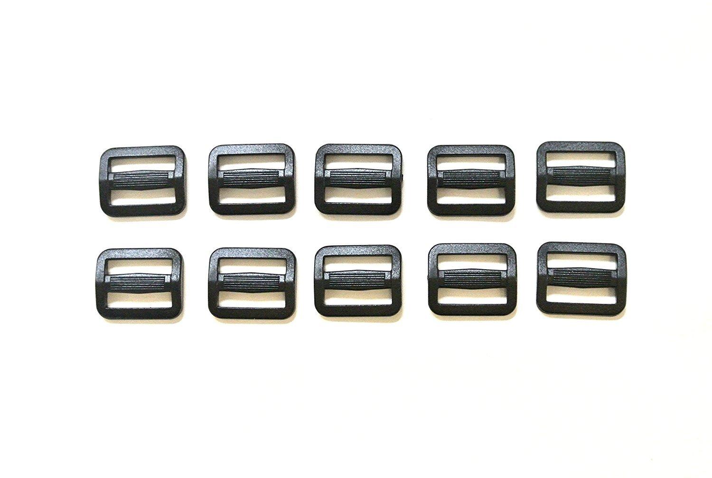 25 hebillas de pl/ástico negro ajustables con 3 barras para mochila bolsas t/ácticas 15 mm negro