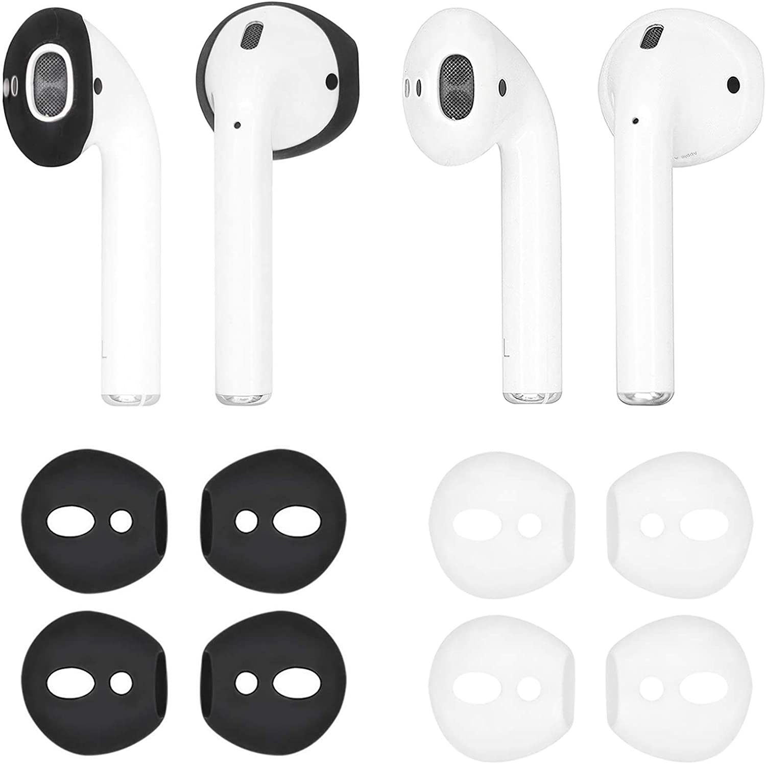 IiEXCEL Fit in Case Eartips for AirPods, 4 Pairs Replacement Super Thin Slim Silicone Earbuds Ear Tips Covers Skin Accessories for Apple AirPods 1 AirPods 2 (Fit in Charging Case) Black White
