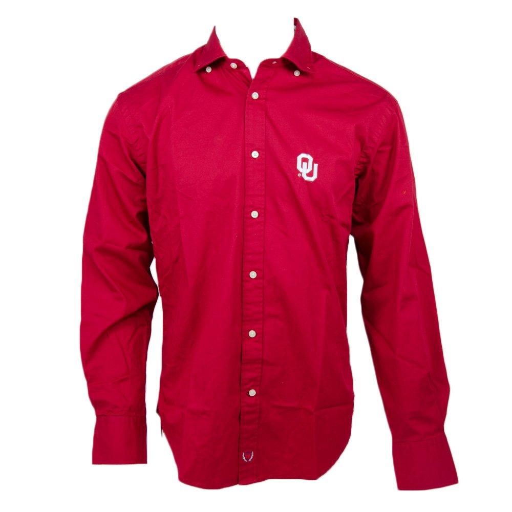 Thomas Dean Co Mens Solid Twill OU Shirt Crimson