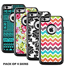 Protective Designer Vinyl Skin Decals for OtterBox Commuter iPhone 6 / 6S Case - Cool Trendy Floral, damask, Chevron and Tribal Design Patterns [Pack of 4 Skins] - [TeleSkins] -Only Skins and Not Case