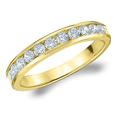 14K Gold 50 Cttw Round Diamond Wedding Band Anniversary Ring Size 4