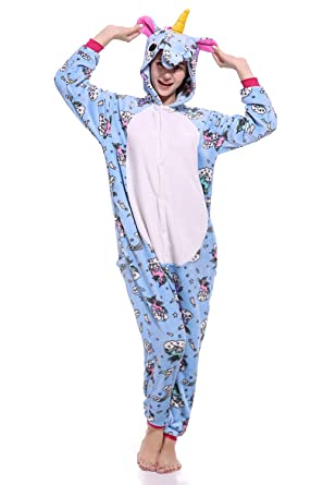51ffd419ef1f Unicorn Pajamas Unisex-Adult Onesie Animal Cosplay Costume Outfit for  Halloween