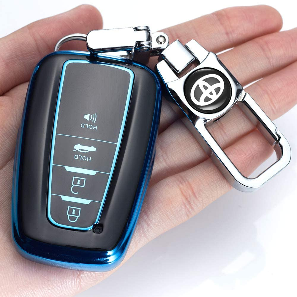 121Fruit Way for Toyota Key Fob Cover Premium Soft TPU 360 Degree Protection Key Case Compatible with 2018 2019 2020 Toyota Camry RAV4 Avalon C-HR Prius Corolla Smart Key only for Keyless go -Silver