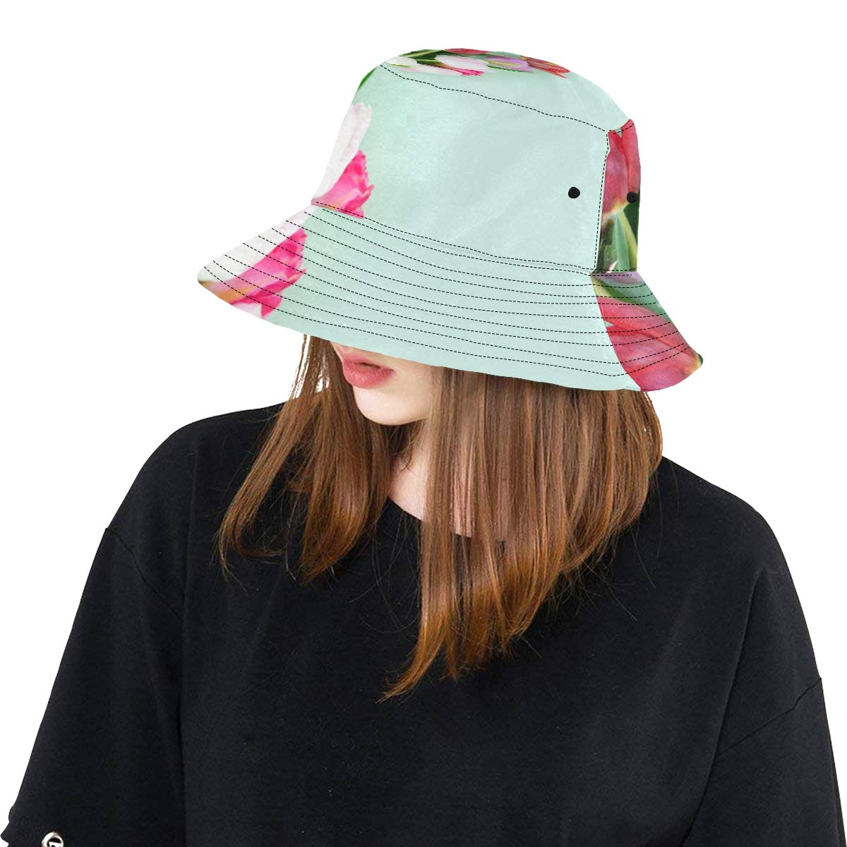 Aroma-Like Tulip New Summer Unisex Cotton Fashion Fishing Sun Bucket Hats for Kid Teens Women and Men with Customize Top Packable Fisherman Cap for Outdoor Travel