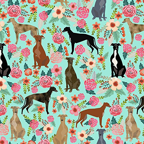 greyhounds-fabric-greyhound-floral-fabric-cute-mint-vintage-les-fleurs-fabric-cute-dog-rescue-greyho