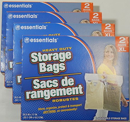 essentials Heavy Duty Clear Plastic Storage Bags w/ Zip-Lock