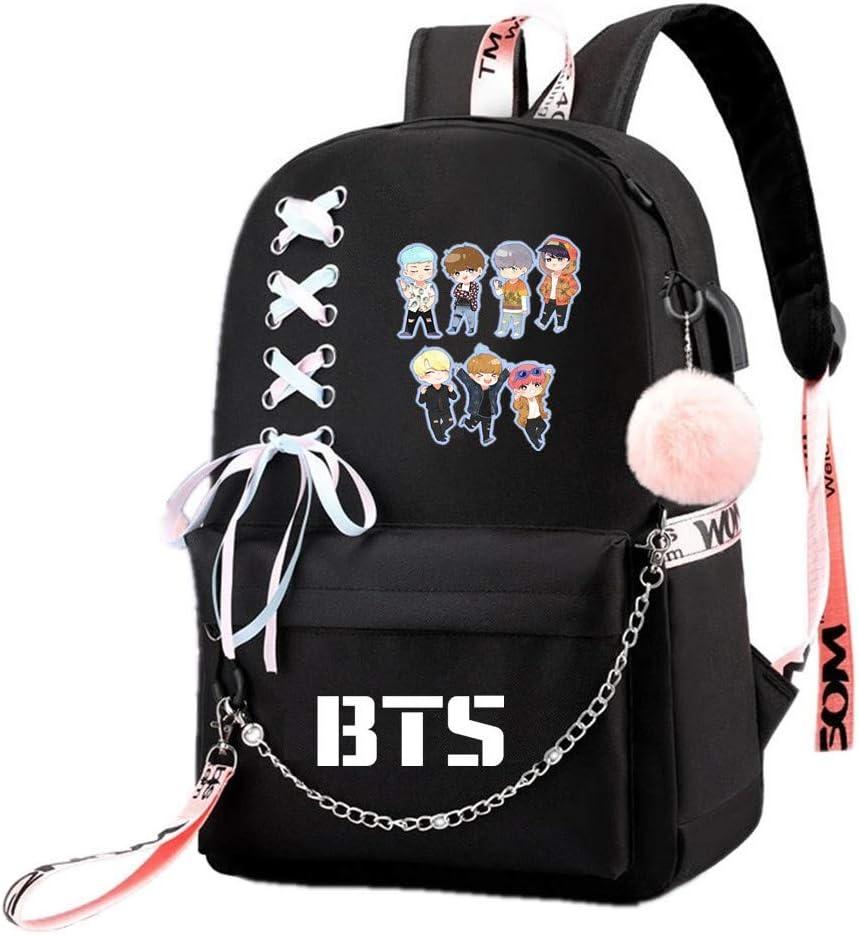 JUSTGOGO Korean KPOP BTS Bangtan Boys Backpack Daypack Laptop Bag School Bag Mochila Bookbag (Black 8)