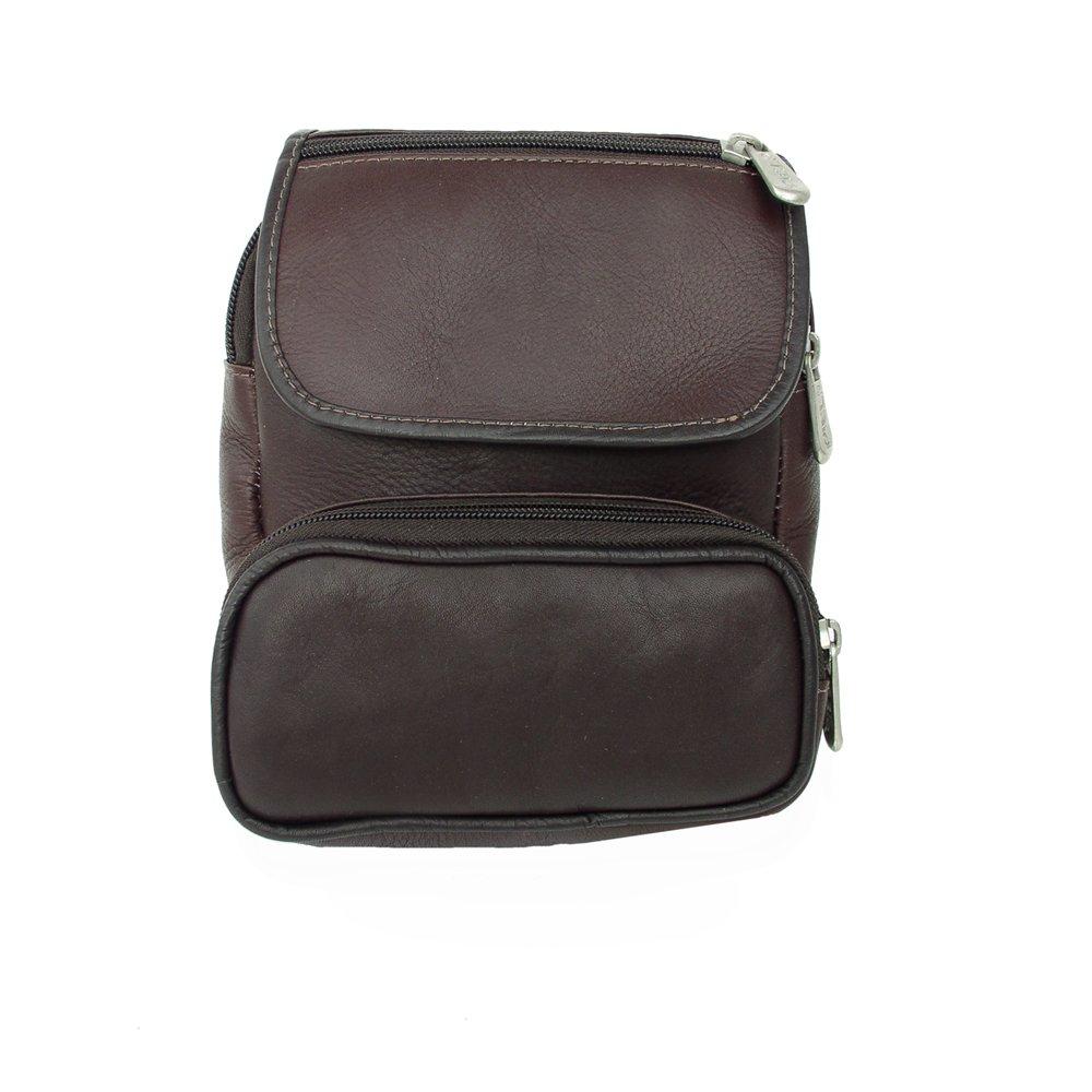 Piel Leather Travel Waist Bag Organizer, Chocolate, One Size