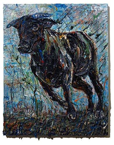 (UNTITLED m1042 - Original oil painting bull)