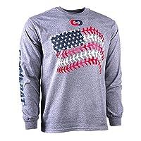 GIMMEDAT Baseball seams American Flag Long Sleeve Baseball Shirt