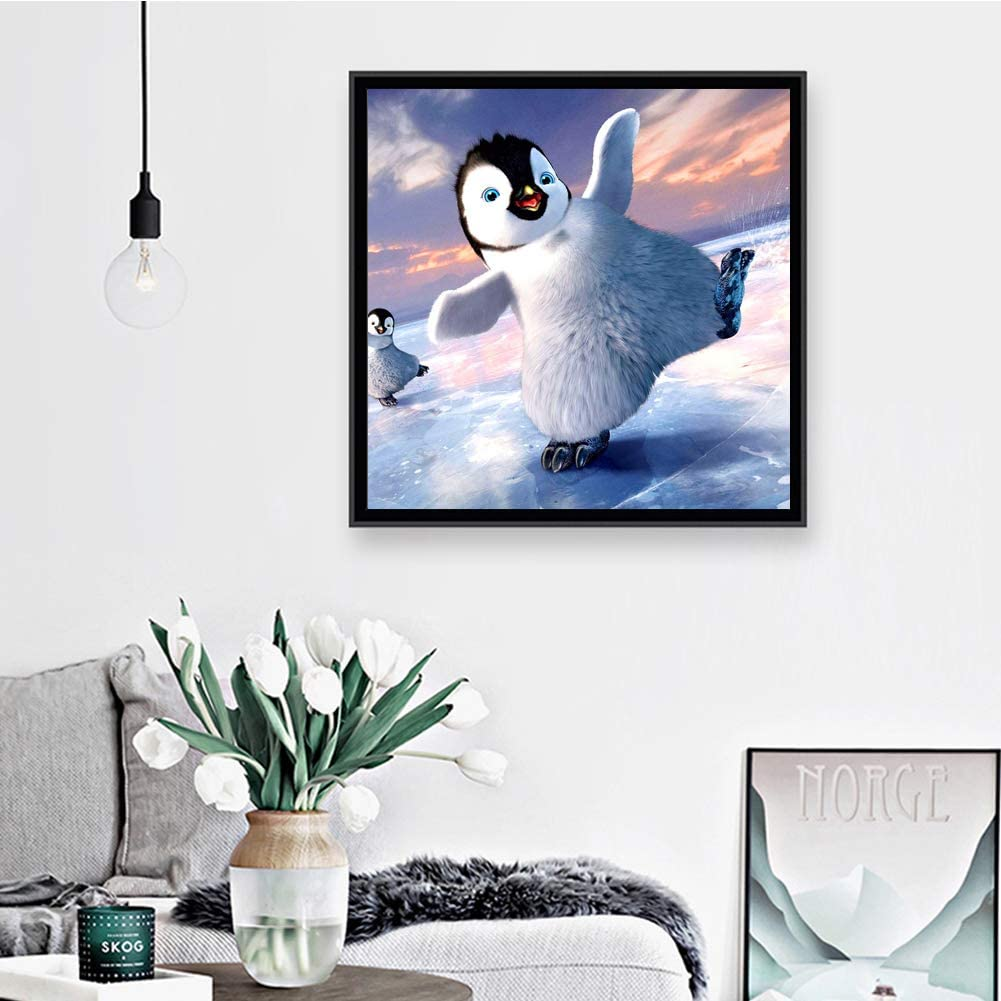 5D Diamond Painting by Number Kits Full Drill for Adults Kids,Craft Rhinestone with Diamonds Set Arts Decor Penguin at Play 11.8x11.8in 1 Pack by Greatmin