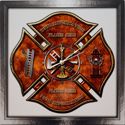 ETTA Clock Personalized Maltese Cross Firefighter - Fireman Aluminum Wall Clock ...
