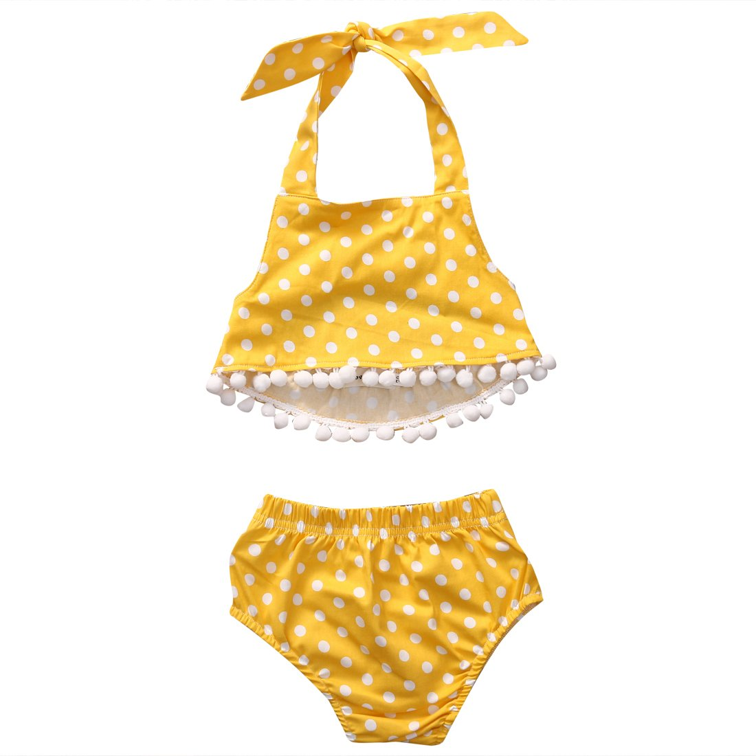 Baby Girls 2pcs Bikini Set Halter Strap Dot Pom Backless Top+Dot Bottom