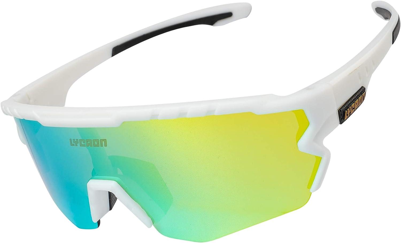 Gafas Ciclismo Polarizadas, Gafas de Conducción de Medio Cuadro con 3 Lentes Intercambiables, Gafas de Protección UV para Montar Se Adapta al Esquí Correr Ciclismo