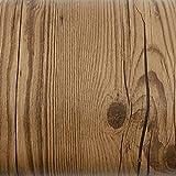 ROSEROSA Peel & Stick Acacia Merbau Camagon Amazahoue Crack Wood Textured Self-Adhesive Vinyl Contact paper Interior Film Shelf Liner Table and Door Reform (PG4102-1 : 1.96 Feet X 8.20 Feet)