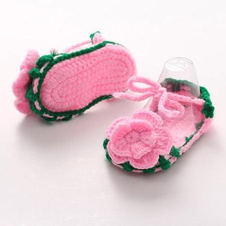 Zapatos Bebé niña primeros pasos ❤ Amlaiworld Zapatos rosas de verano para bebés Cuna Crochet Calcetín de punto hecho a mano de niñas zapatos princesa ...