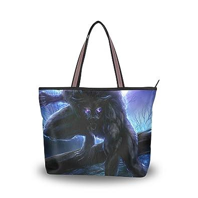 e2b85b58a1e3 JSTEL Women Large Tote Top Handle Shoulder Bags Moon Wolf Tree Night ...