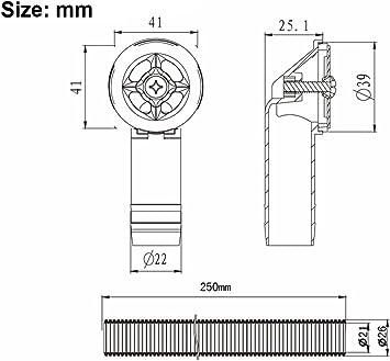 Tube de d/ébordement pour /évier extensible Taille: 41x41mm 2x Tuyaux de d/ébordement diam/ètre int/érieur: 21mm Tube longueur 250mm diam/ètre 26mm Interface carr/ée