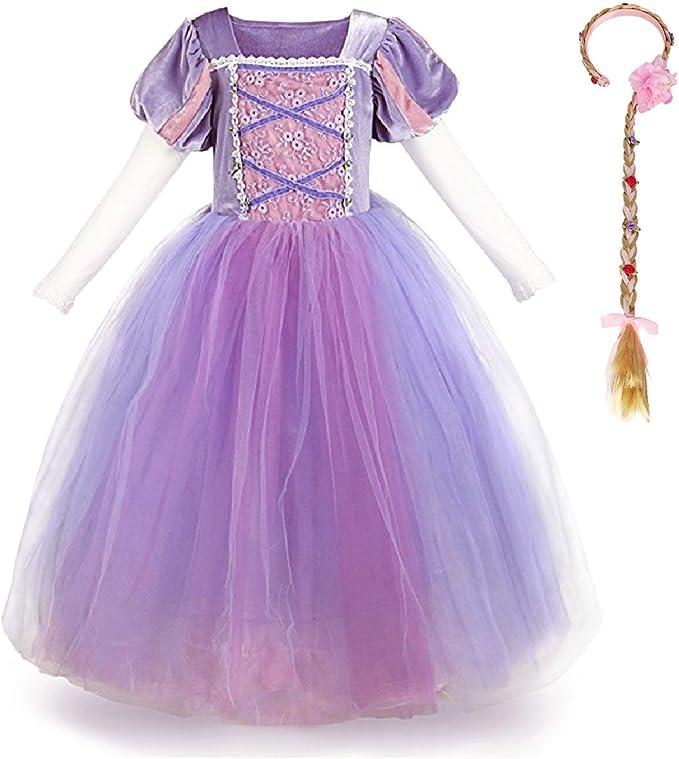 OwlFay Vestido Princesa Disfraz de Rapunzel para niña Carnaval ...