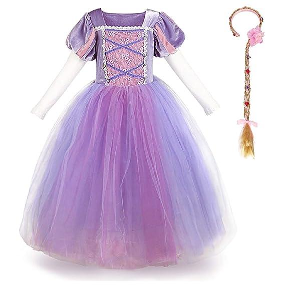 OwlFay Vestido Princesa Disfraz de Rapunzel para niña Carnaval Traje Infantil Fairy Tales Disfraces para Halloween Navidad Cosplay Vestidos de Fiesta ...