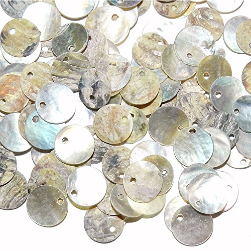 Shell Beads, Qiancraftkits 400 Natural 12mm 15mm Flat Round Mussel Shell Coin Beads Drop Charms for Jewelry Making ()