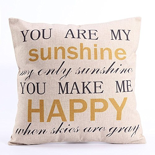 Dingoo Cotton Linen Cushion Cover Pillowcase 18x18 Inch Square Throw Pillow  Case Simple Words You are my sunshine