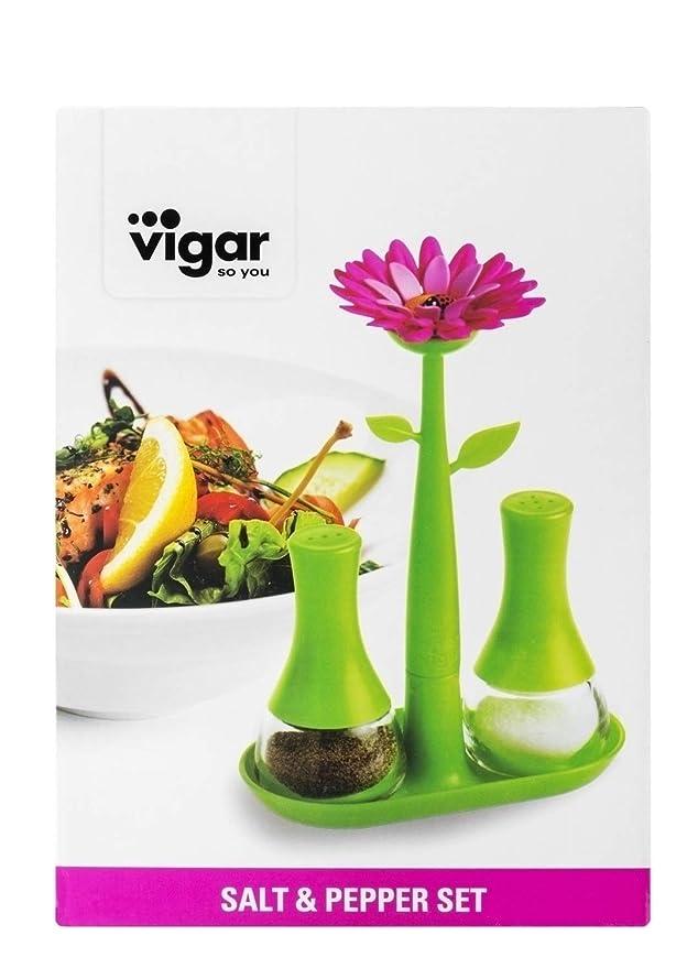 VIGAR Flower Power Salz und Pfefferset gr/ün//pink